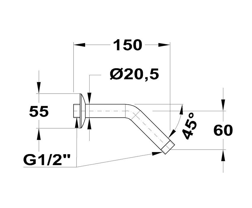 Mofém 45° x 150 Zuhanykar 169-0003-00 méret ábra
