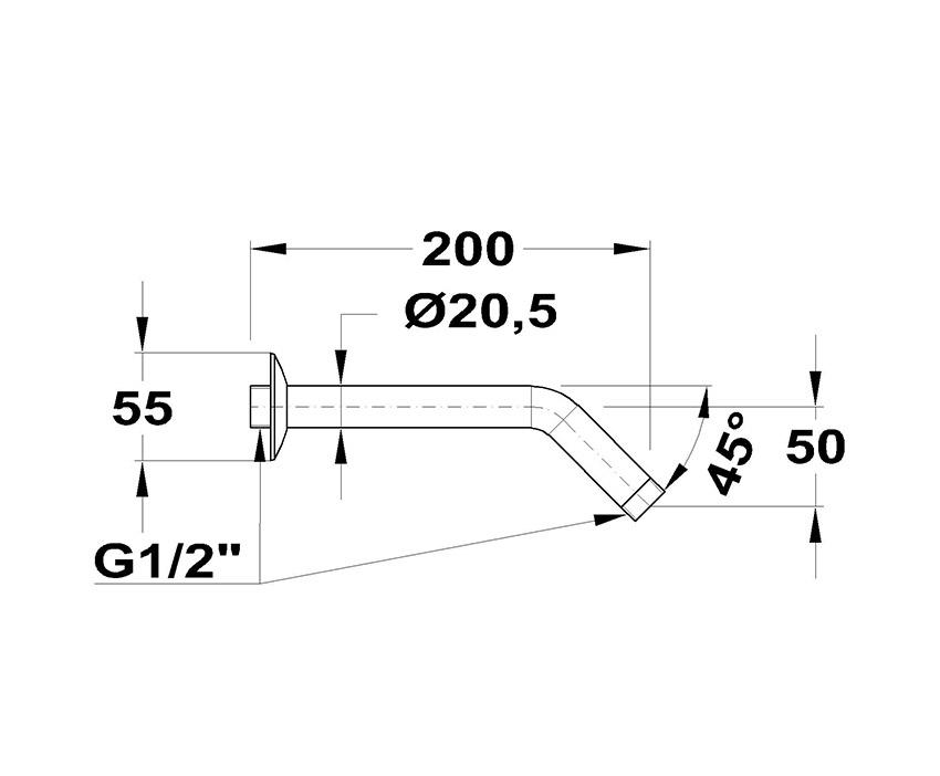 Mofém 45° x 200 Zuhanykar 169-0003-01 méret ábra