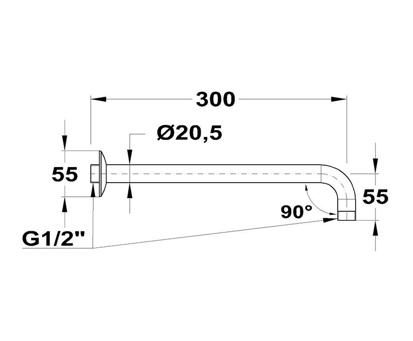 Mofém 90° x 300 Zuhanykar 169-0003-03 méret ábra