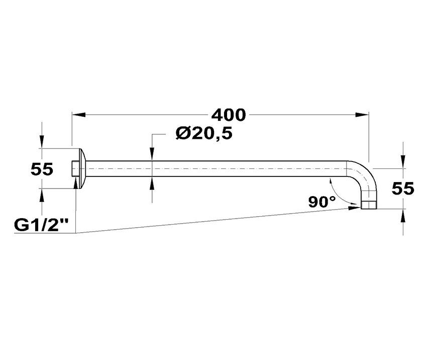 Mofém 90° x 400 Zuhanykar 169-0003-02 méret ábra