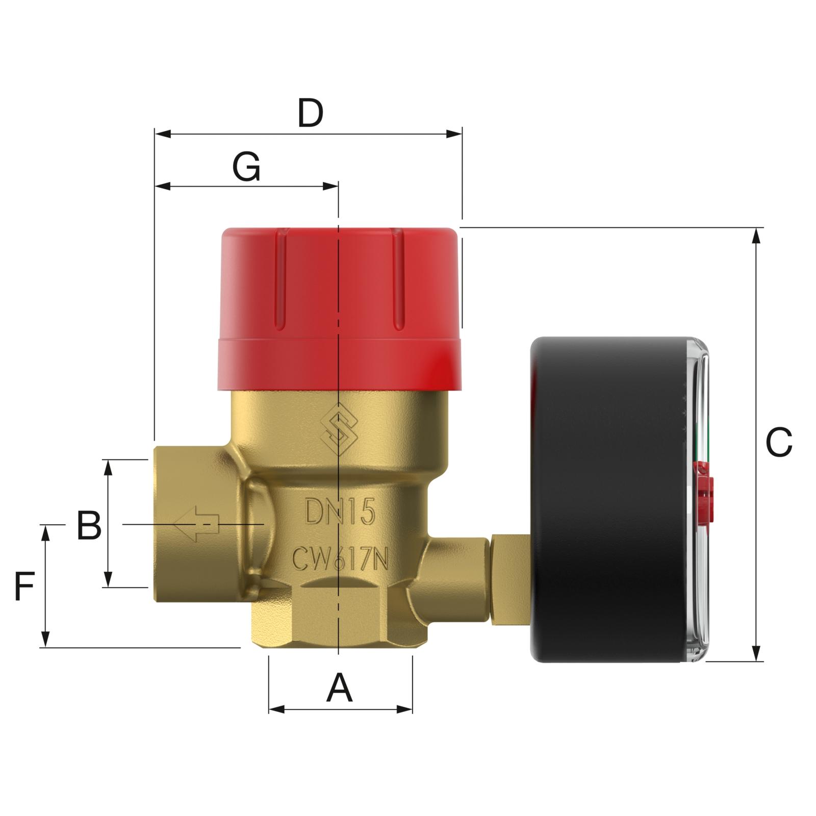 Flamco Prescomano 1/2x3/4 TRD 2,5 bar Biztonsági szelep nyomásmérővel (27687) műszaki ábra