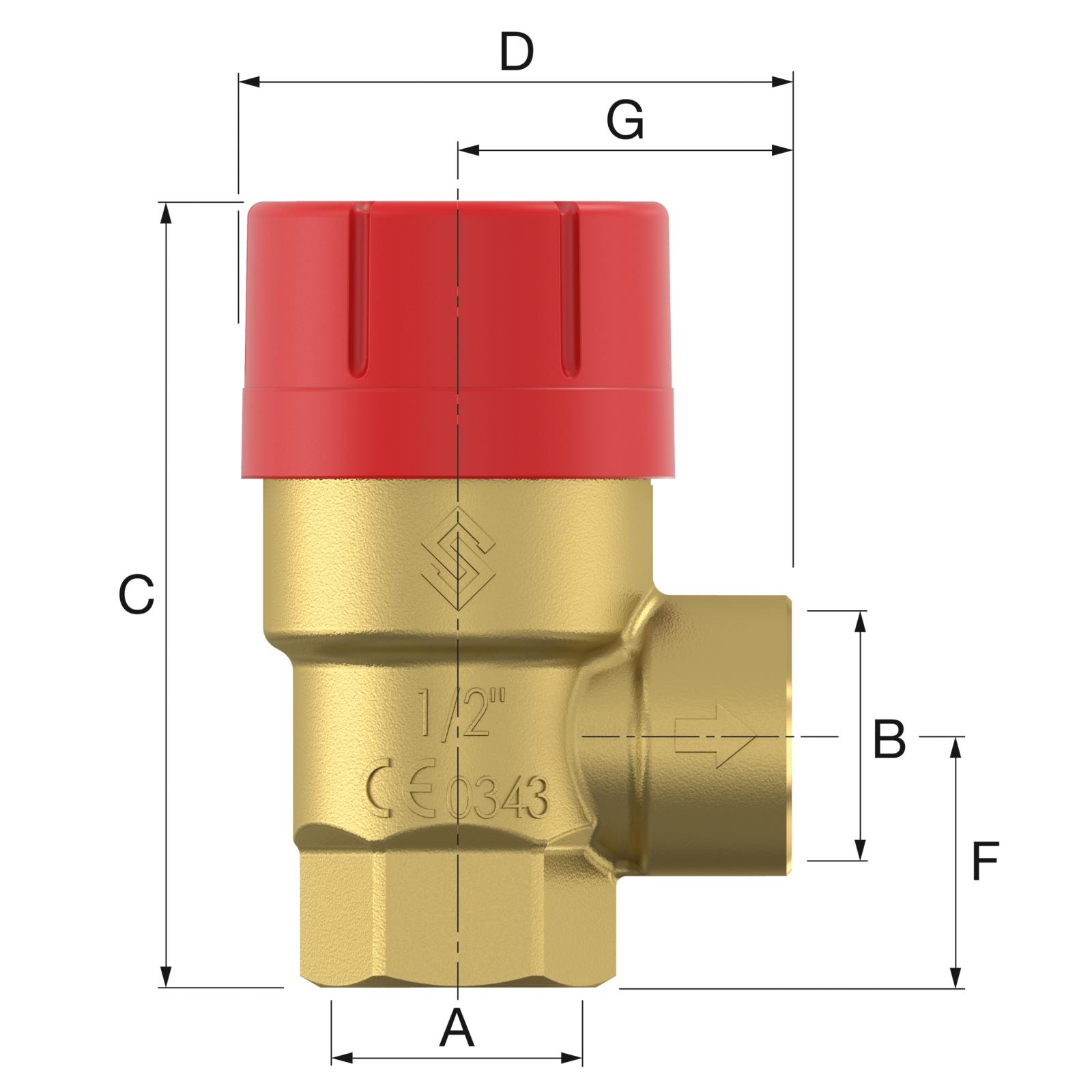 Flamco Prescor 1/2x1/2 - 1,5 bar Biztonsági szelep (27608) műszaki ábra