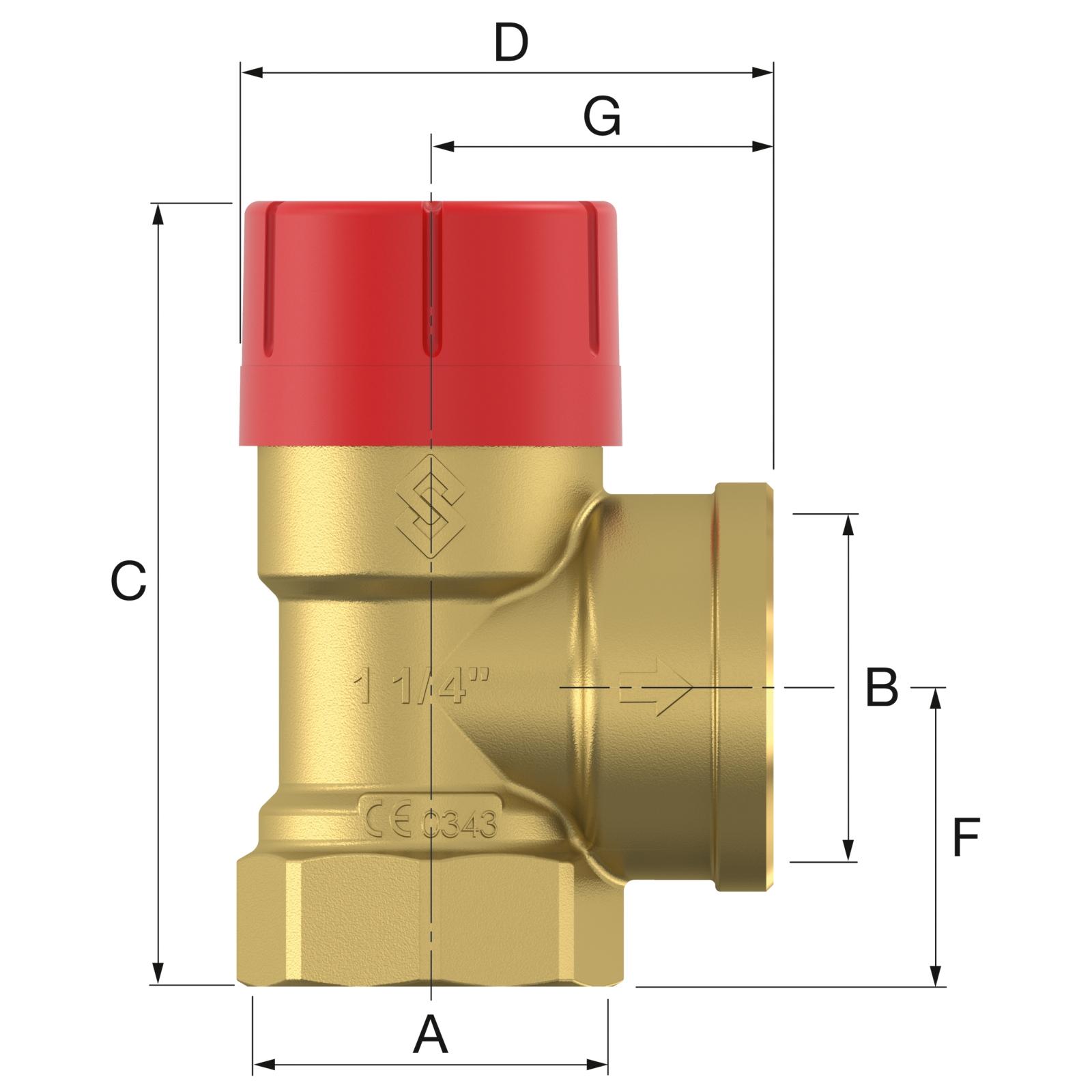 Flamco Prescor 1x5/4 - 3 bar Biztonsági szelep (27045) műszaki ábra