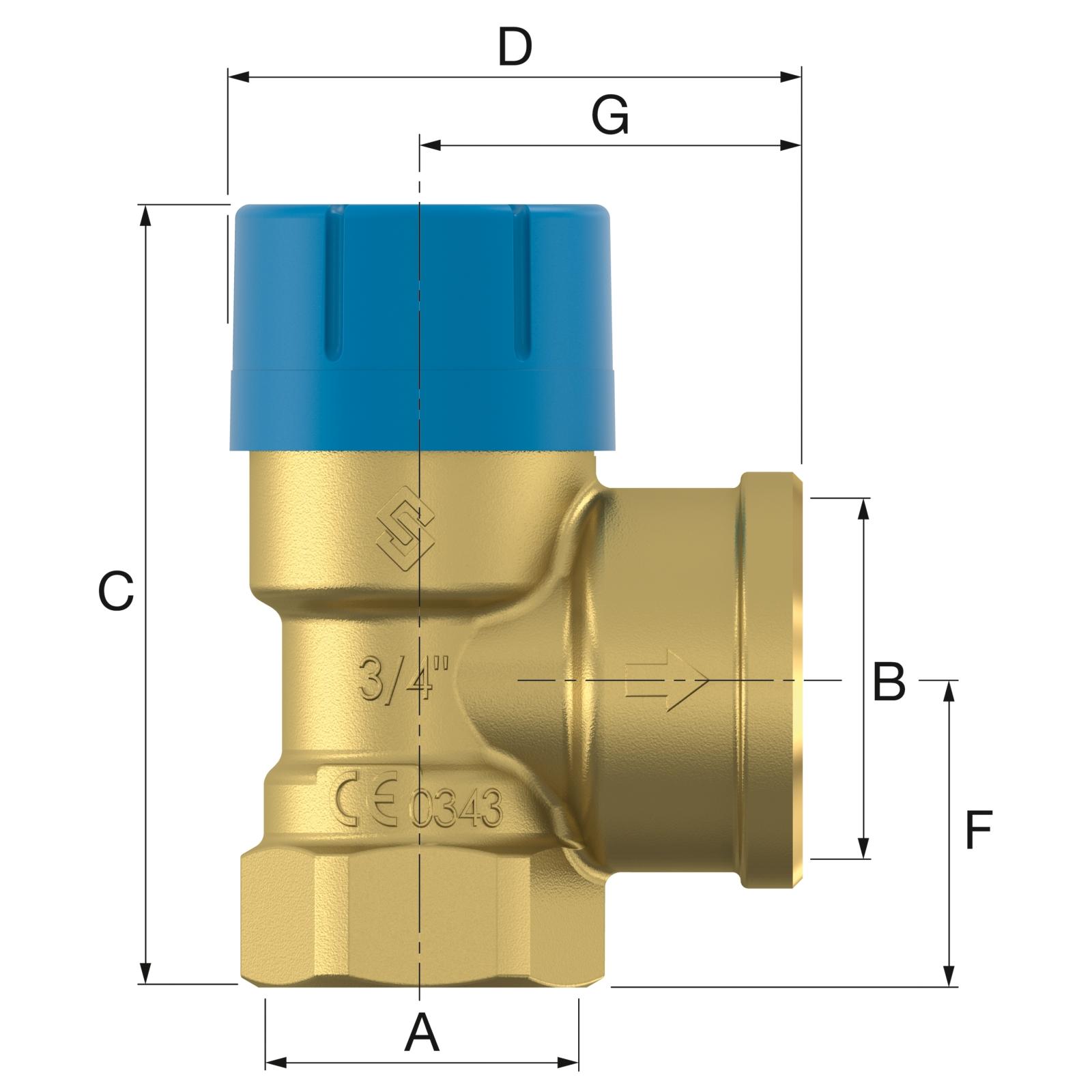 Flamco Prescor B 1/2x1/2 - 10 bar Biztonsági szelep (27102) műszaki ábra