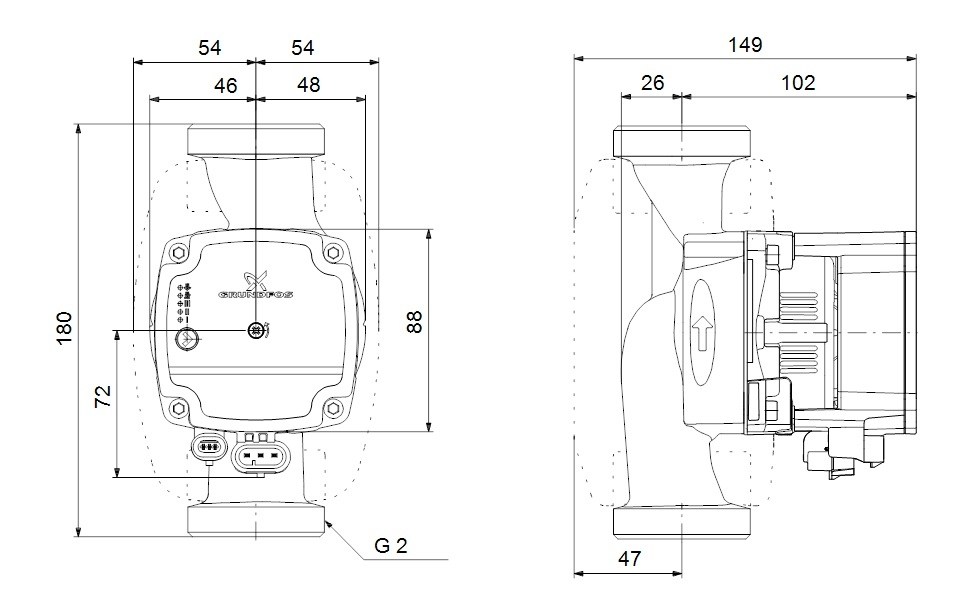 Grundfos Alpha1 L 32-60 180 Fűtési Keringető Szivattyú műszaki ábra