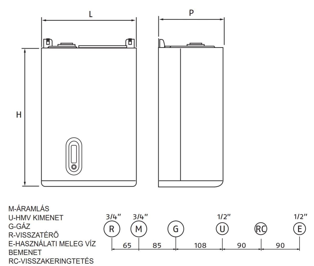 Riello Family Aqua Condens 35+60l Fali kondenzációs beépített tárolós gázkazán műszaki ábra