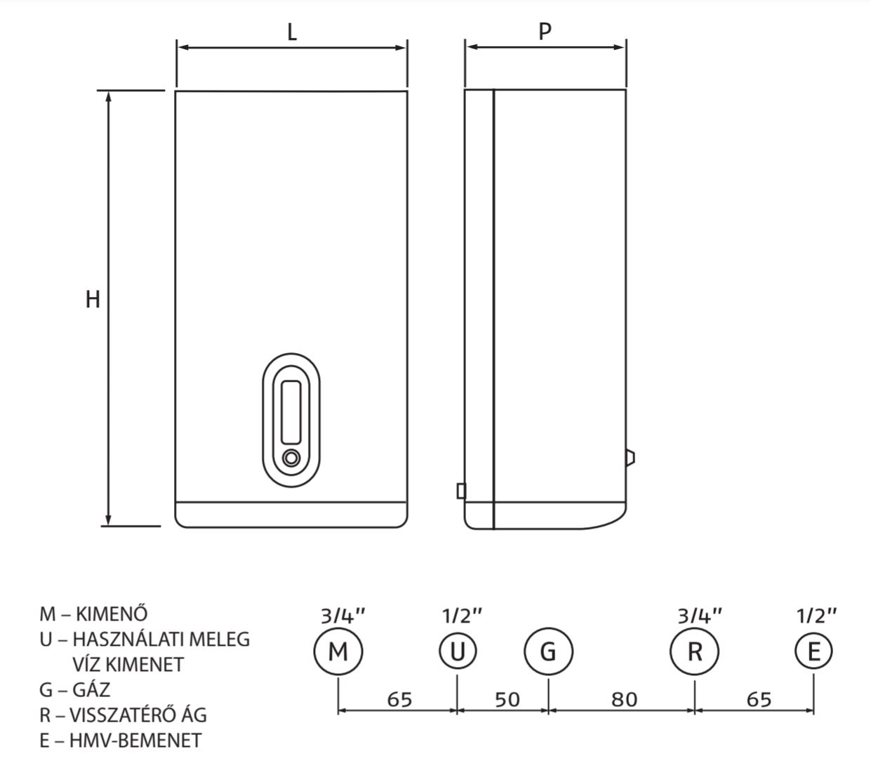 Riello Family Condens 2.5 KIS E MTN Fali kondenzációs kombi gázkazán 20 kW műszaki ábra