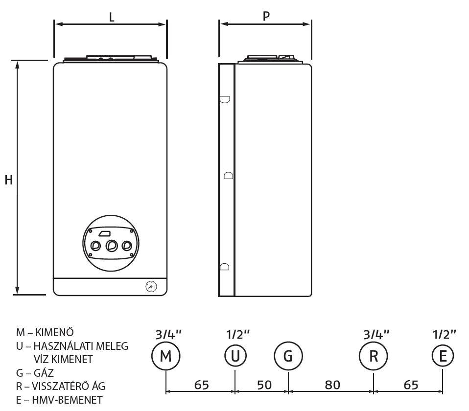 Riello Residence Condens 25 KIS N MTN Fali kondenzációs kombi gázkazán 20 kW műszaki ábra