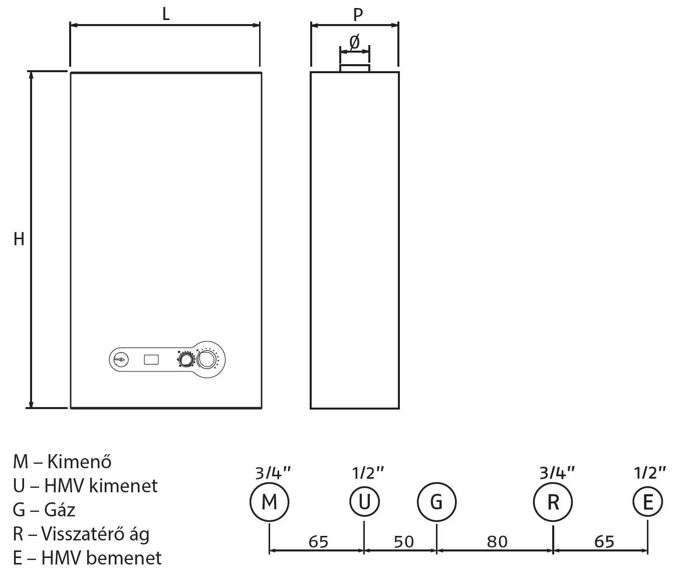 Riello Start 24 KI LN Fali kéményes kombi gázkazán 24 kW műszaki ábra