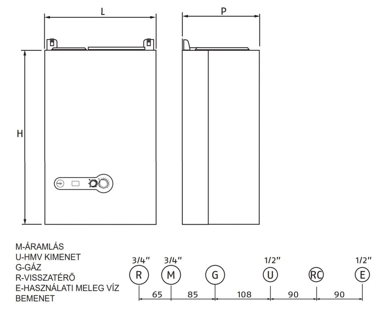 Riello Start Aqua Condens 25/45L Fali kondenzációs beépített tárolós gázkazán 25 kW műszaki ábra