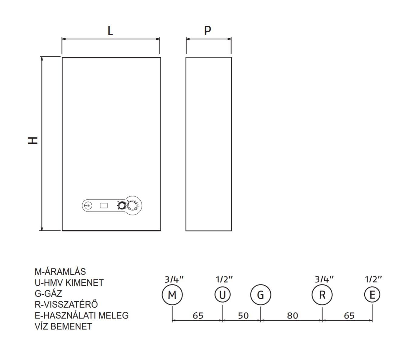 Riello Start Condens 29 KIS MTN Fali kondenzációs kombi gázkazán 24 kW műszaki ábra