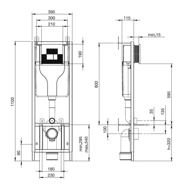 Sanica San 100 Beépíthető WC tartály 1100 mm műszaki adatlap
