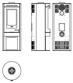 Edilkamin Tally 8 Kályha bronz színű burkolattal műszaki ábra