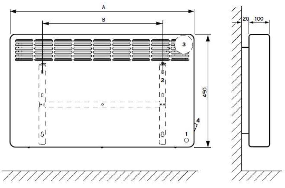 Vaillant eloMENT VER 200/5 elektromos fali konvektor műszaki ábra