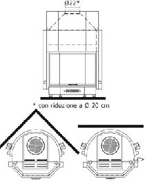 Edilkamin Acquatondo Prizmatikus 22 Vízteres kandallóbetét nyílt rendszerre műszaki ábra