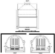 Edilkamin Acquatondo Oldalüveges 29 Vízteres kandallóbetét zárt rendszerre jobbos műszaki ábra