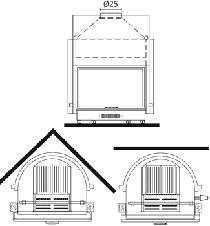 Edilkamin Acquatondo Plus 29 Vízteres kandallóbetét nyílt rendszerre műszaki ábra