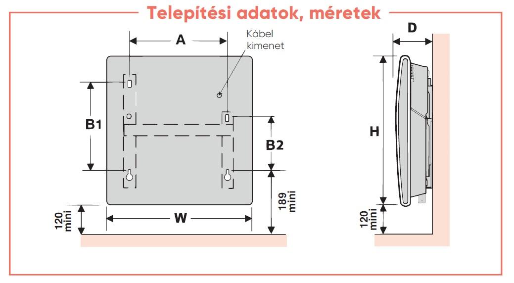 Atlantic Solius Wifi 1500 W Elektromos Fűtőpanel falra szerelhető kivitel programozható LCD kijelzős termosztáttal dugvillával műszaki adatlap