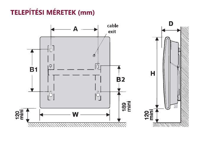 Thermor Evidence 3 Digital 1000W Elektromos fűtőpanel fali konzollal méret ábra