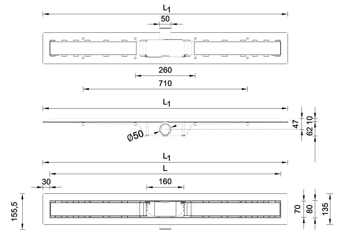 Styron STY-H-70-FF 700 mm-es zuhanyfolyóka fekete műszaki adatlap